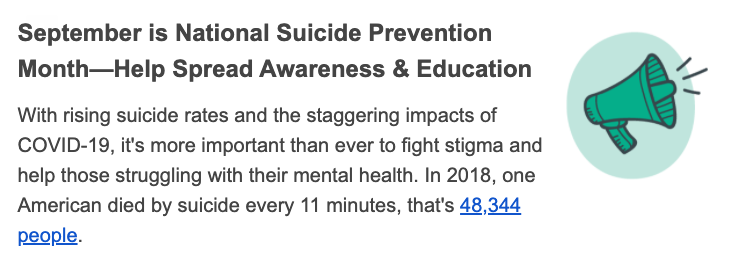 Help Spread Awareness & Education for National Suicide Prevention